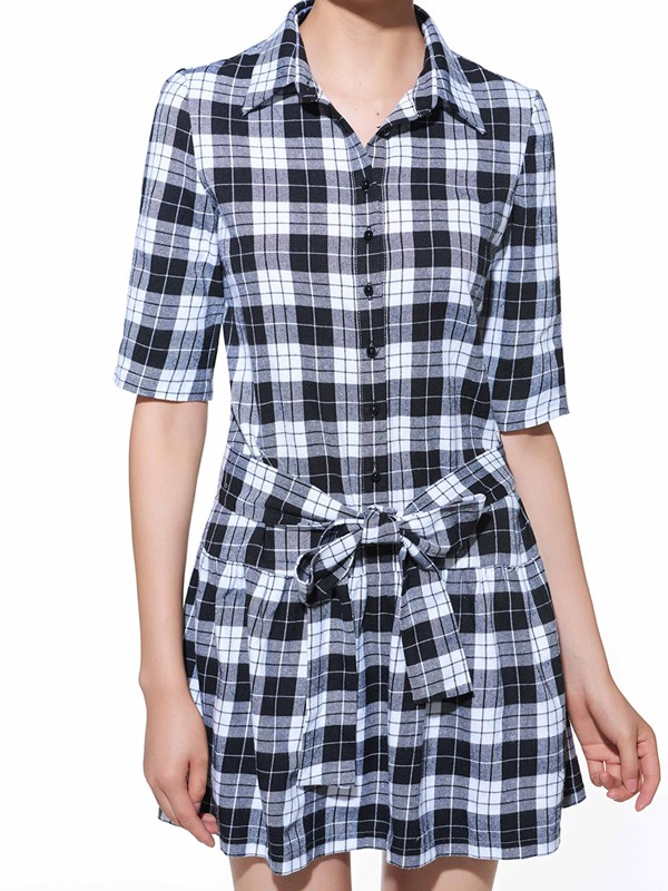 Plaid Lapel Half Sleeve Lace-Up Women's Day Dress