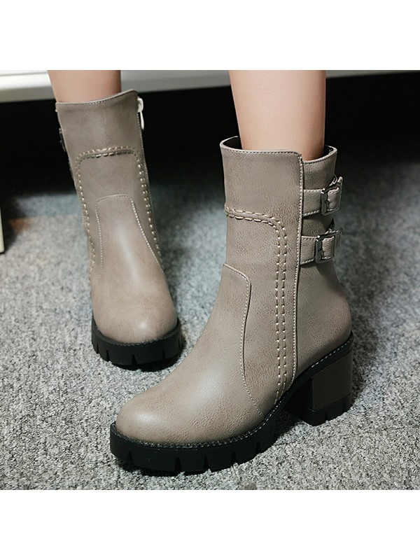 PU Thread Zippered Short Boots