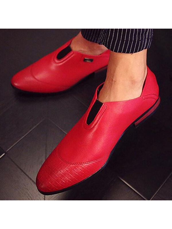 Embossed PU Square Heel Men's Dress Shoes