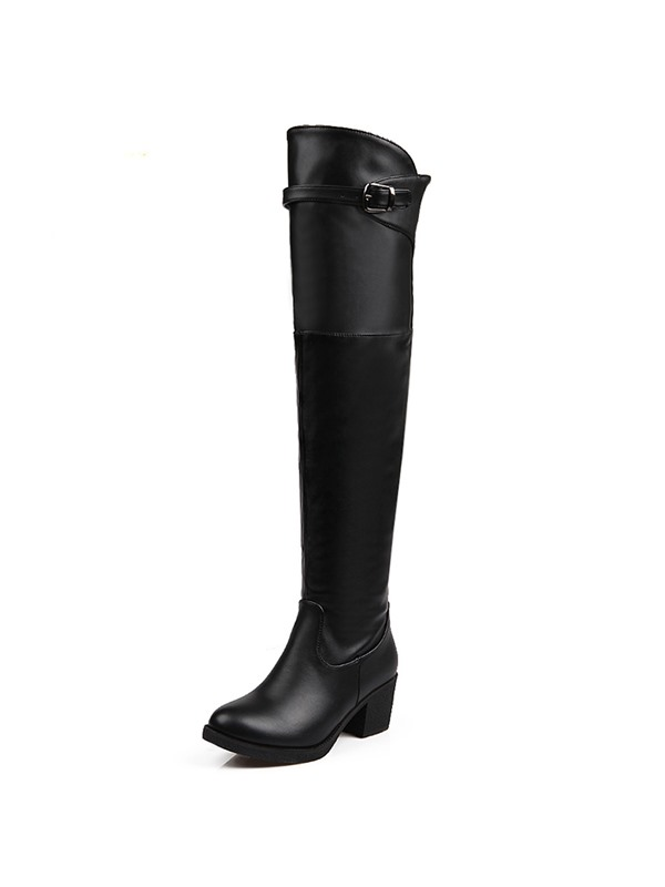 Faux Leather Plain Toe Knee High Boots