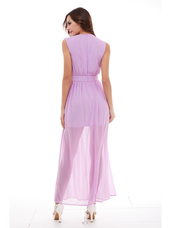 Chic V-Neck Beading Ankle-Length Evening Dress