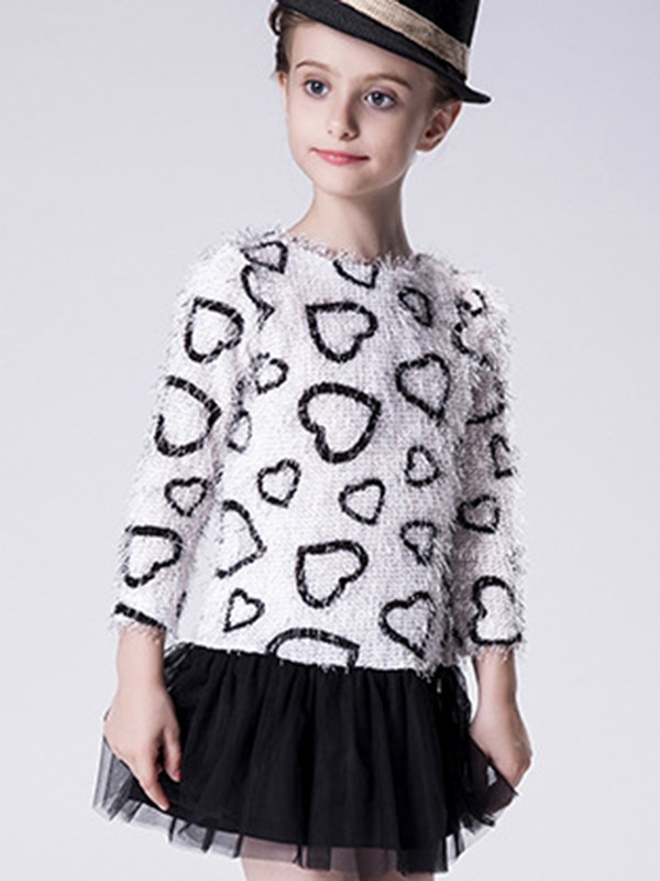 Simple Knitting Heart-Shaped Patchwork Back Opening Girls' T-Shirt