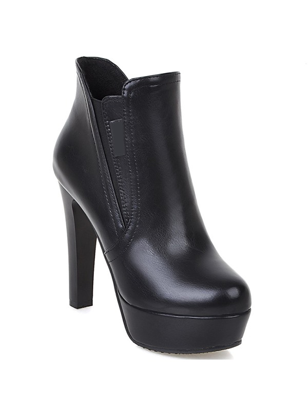 Faux Leather Trimmed Platform Booties