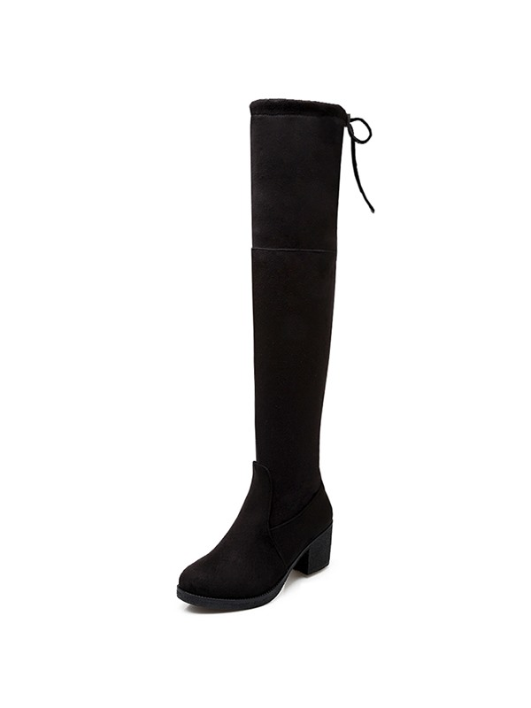 Solid Color Round Toe Square Heel Over Knee Boots