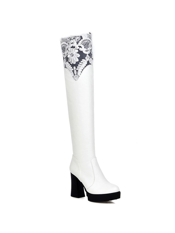 Lace  Chunky Heel Knee High Boots