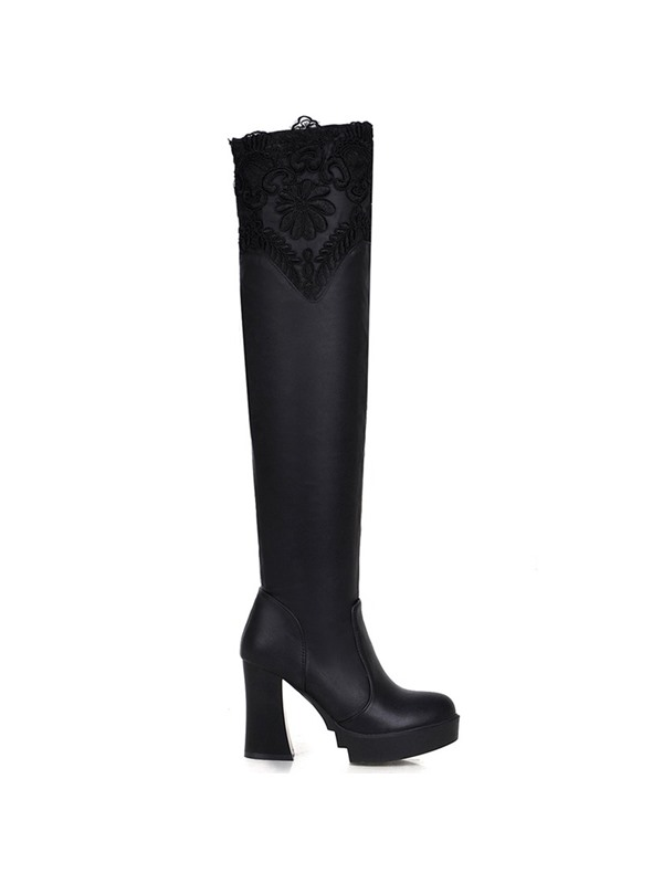 Lace Patchwork Chunky Heel Knee High Boots
