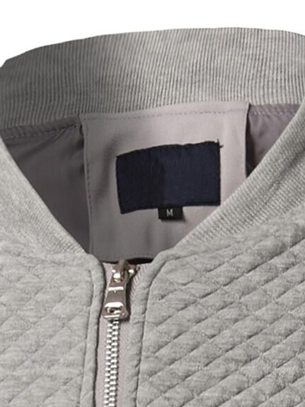 Zipper Stand Collar Vogue Plaid Men's Casual Jacket
