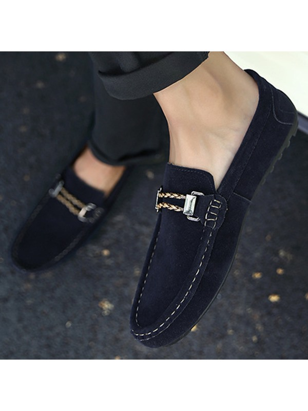Suede Threads Slip-On Driving Shoes