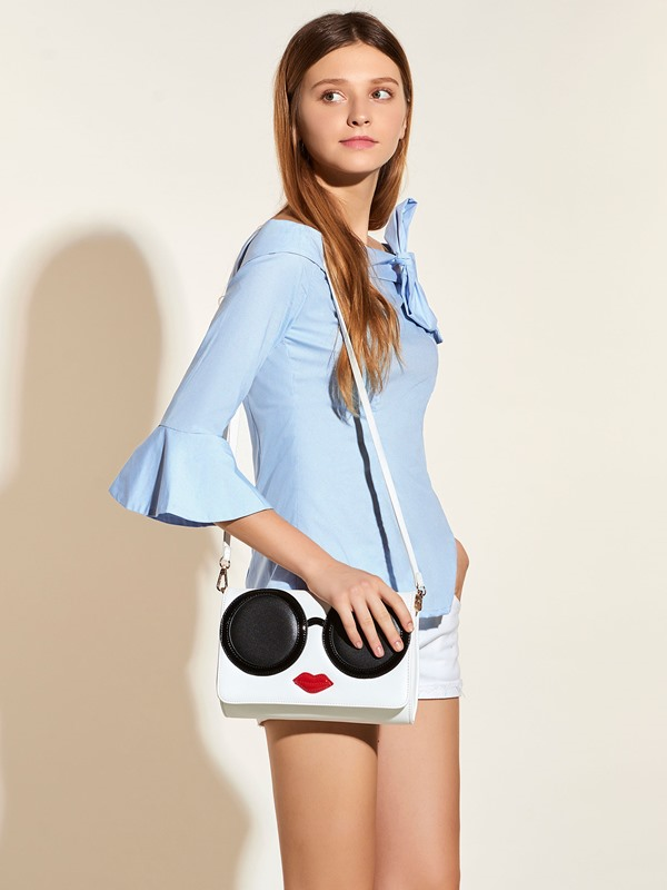 Stylish Bowknot Slash Neck Blouse