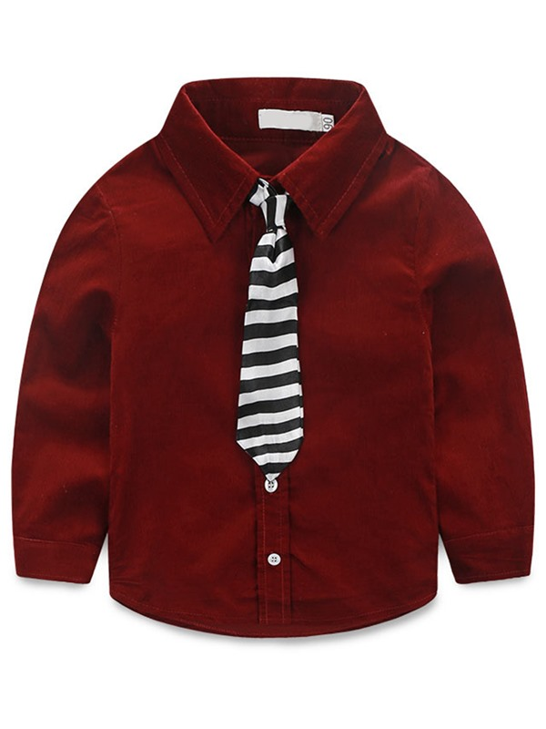 Fashion Corduroy Stripe Tie Worn Two-Piece Boys' Outfit