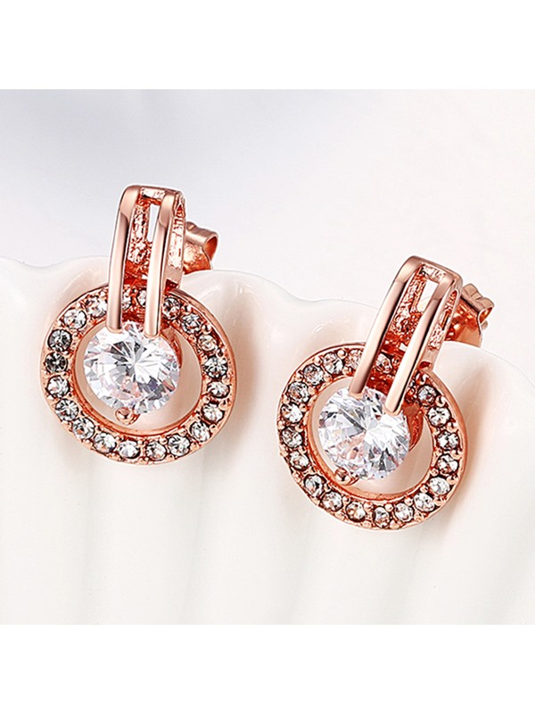 Zircon Inlaid Round Stud Earrings