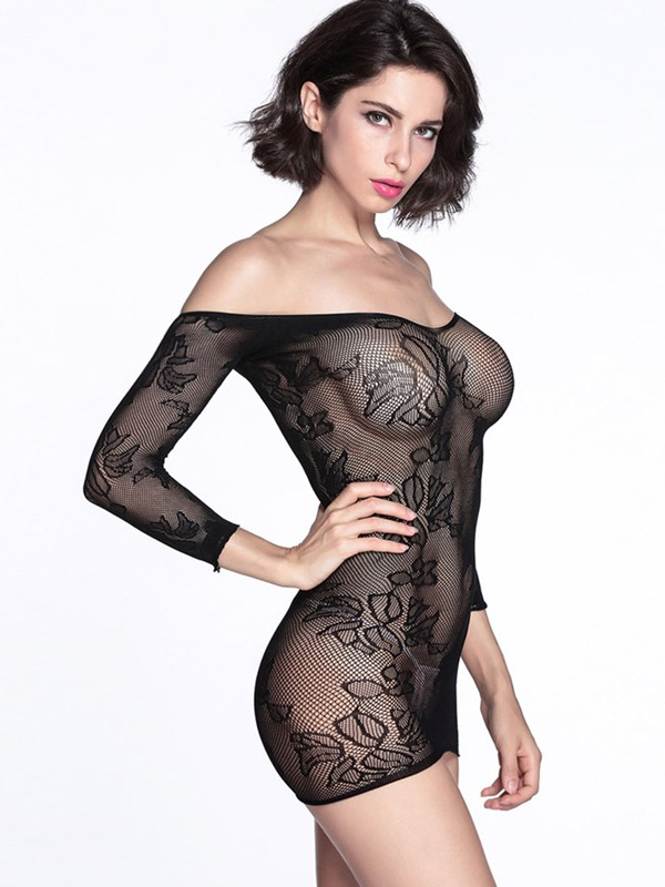 Black Floral Net Off Shoulder Chemise