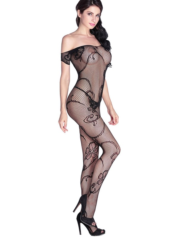 Sexy Black Off Shoulder Fishnet Bodystocking