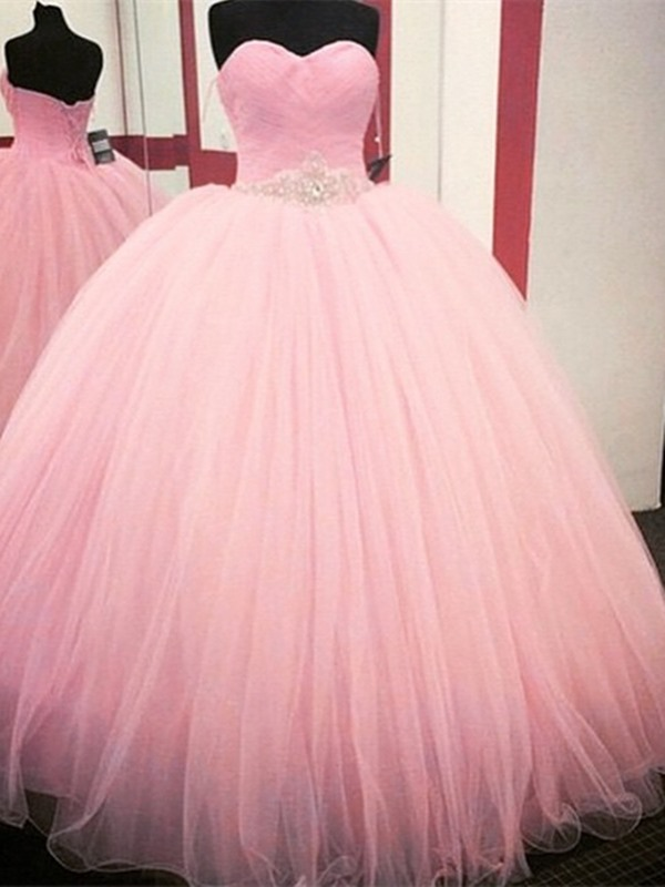 Dramatic Ball Gown Sweetheart Pleats Beaded Quinceanera Dress