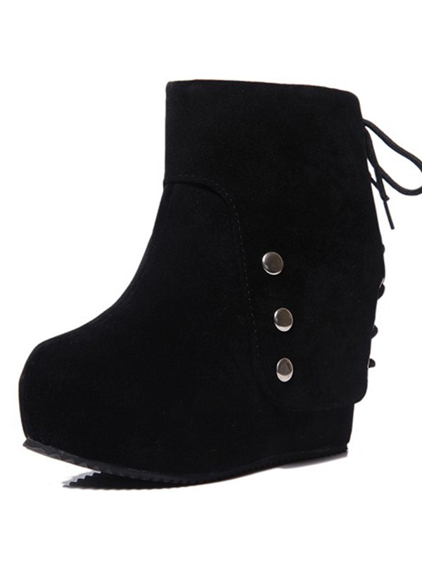 Black Studded Suede Zippered Wedge Boots