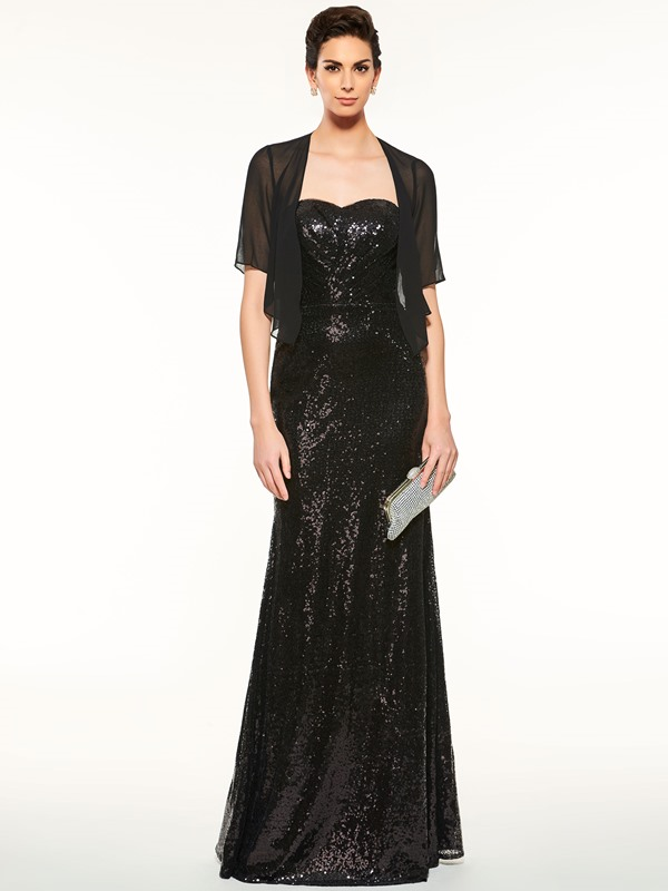 Elegant Strapless Sheath Sequins Mother of the Bride Dress with Jacket