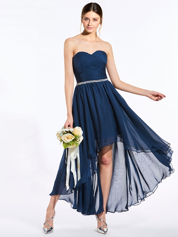 Beaded High Low Bridesmaid Dress with Jacket