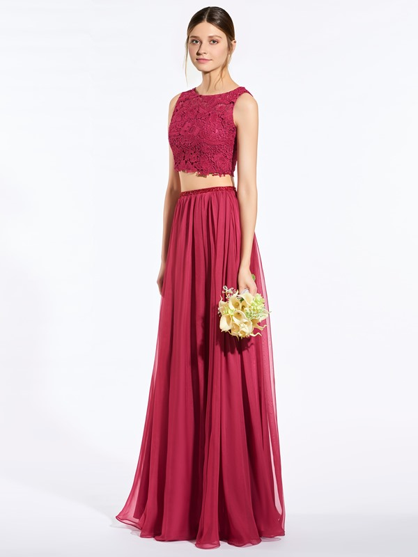Modern Straps Beading Lace Two Piece Bridesmaid Dress