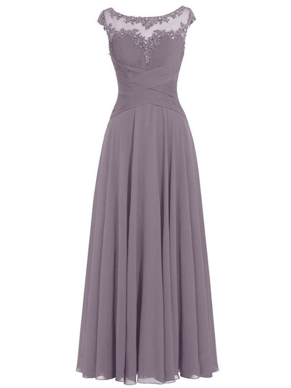 Beautiful Scoop Neck Long Mother of the Bride dress