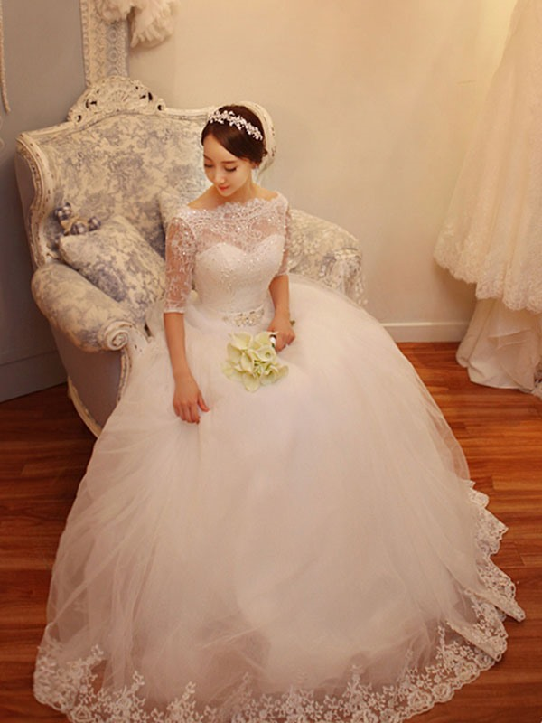Charming Bateau Lace-Up Ball Gown Wedding Dress With Sleeves