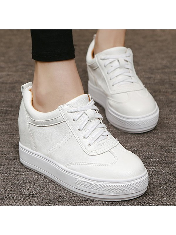White PU Thread Lace-Up Casual Shoes