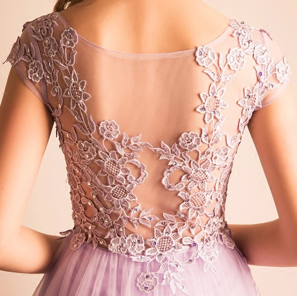 Scoop Appliques High Low Homecoming Dress