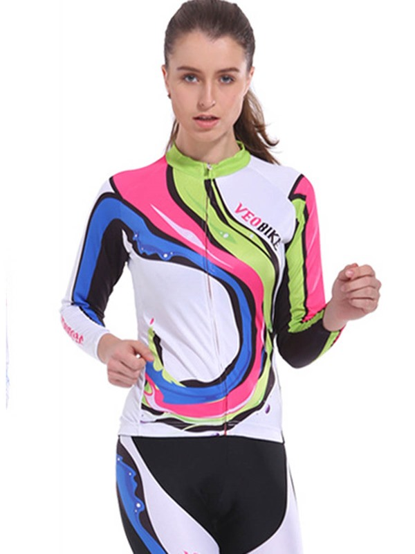 Polyester Quick Drying Reactive Printing Long Sleeve Cycling Jersey