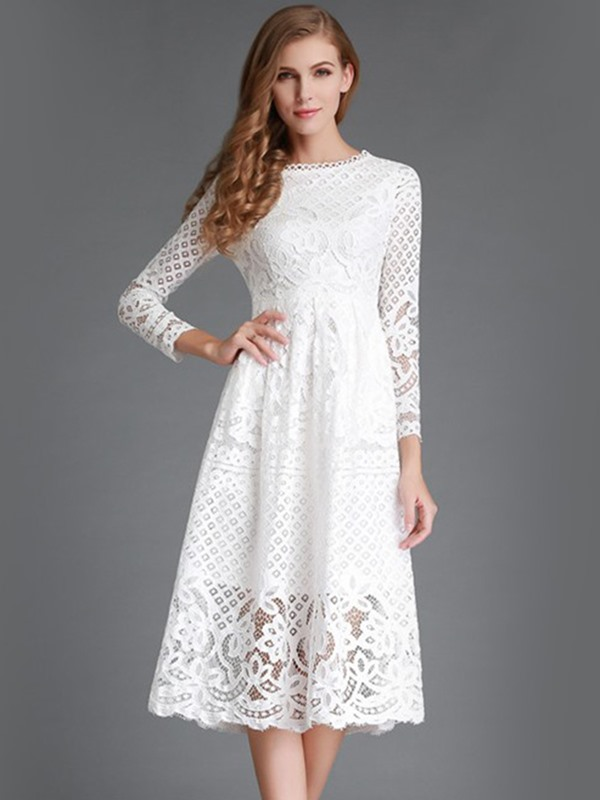Nine Points Sleeve Floral Hollow Lace Dress