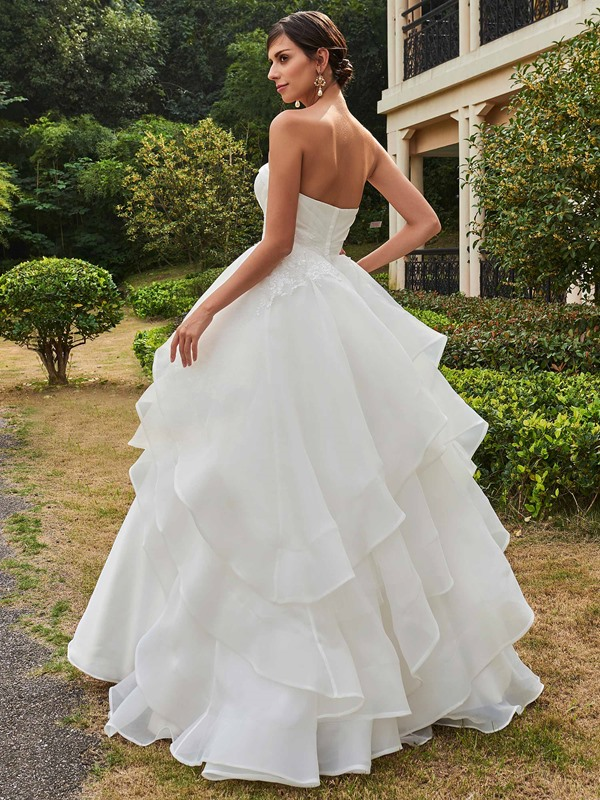 Strapless Tiered Ball Gown Wedding Dress
