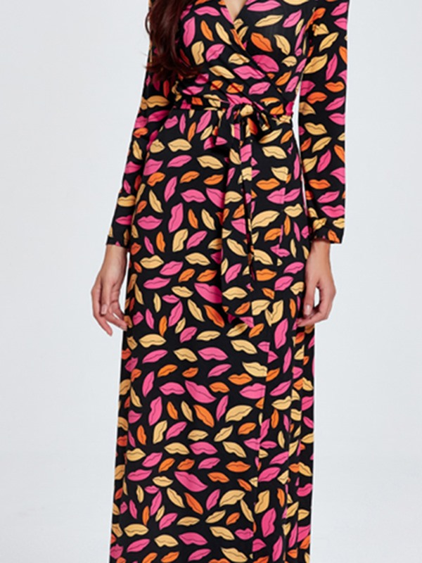 Print V-Neck Long Sleeve Women's Maxi Dress