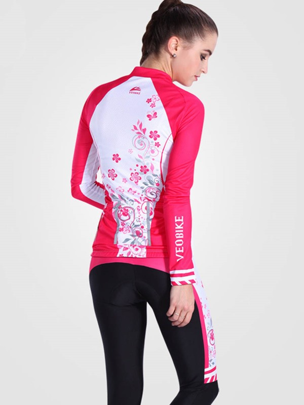 Floral Printed Breathable Fast Drying Long Sleeve Women Cycling Suit