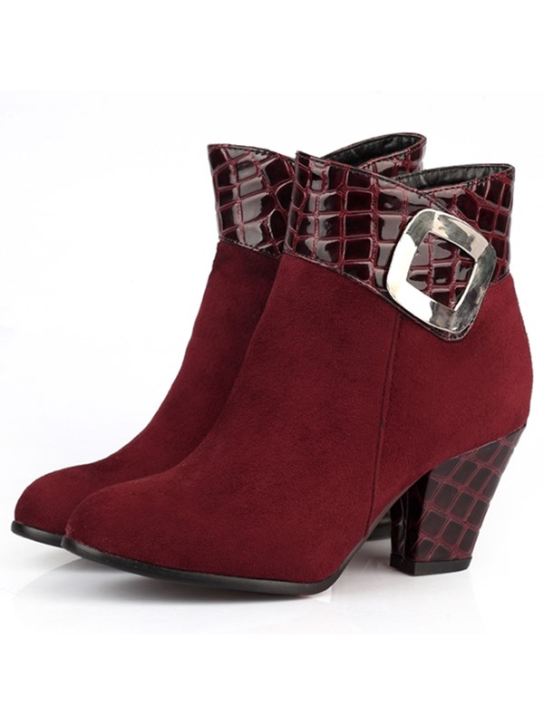 Suede Patchwork Block Heel Booties