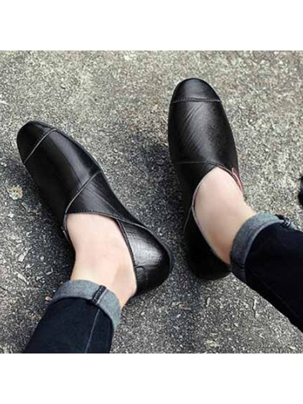 Western PU Thread Slip-On Casual Shoes for Men