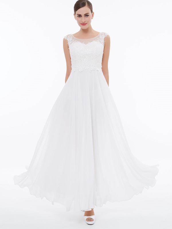 Cap Sleeves Appliques White Evening Dress