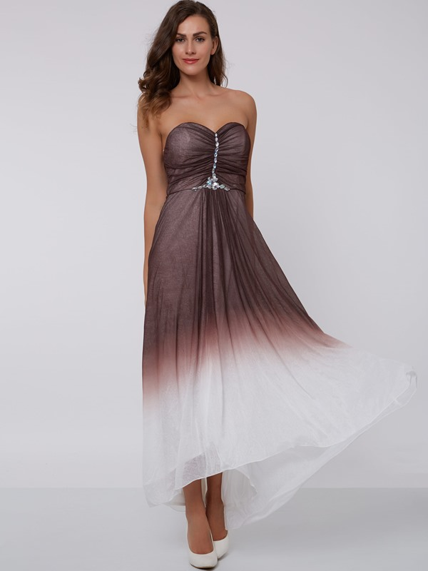 Sweetheart Beading Ruched Gradient Color Evening Dress