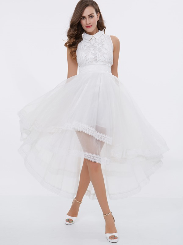 Dramatic Lace High Low Lapel Prom Dress