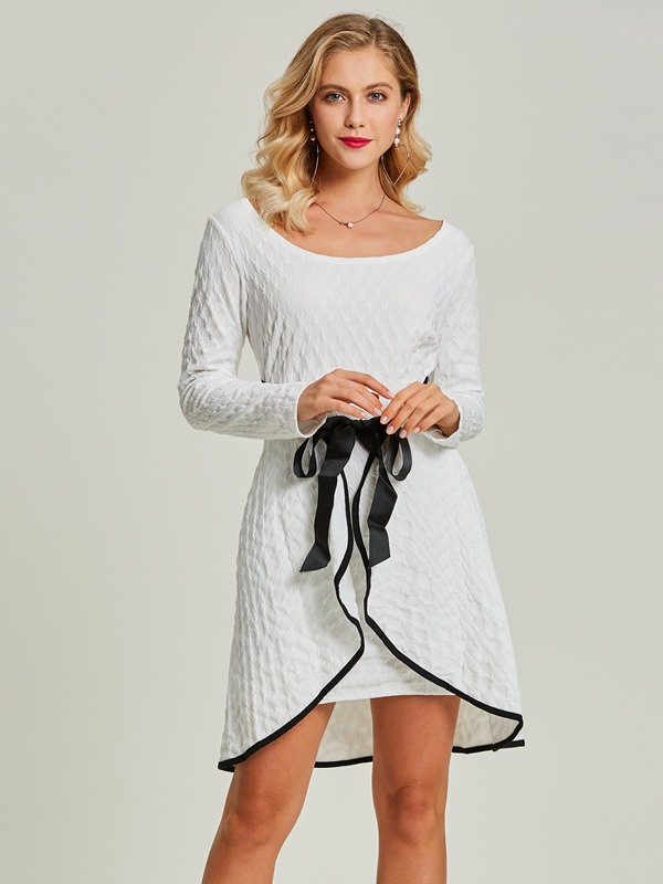 Bowknot Asymmetrical Long Sleeve Women's Day Dress