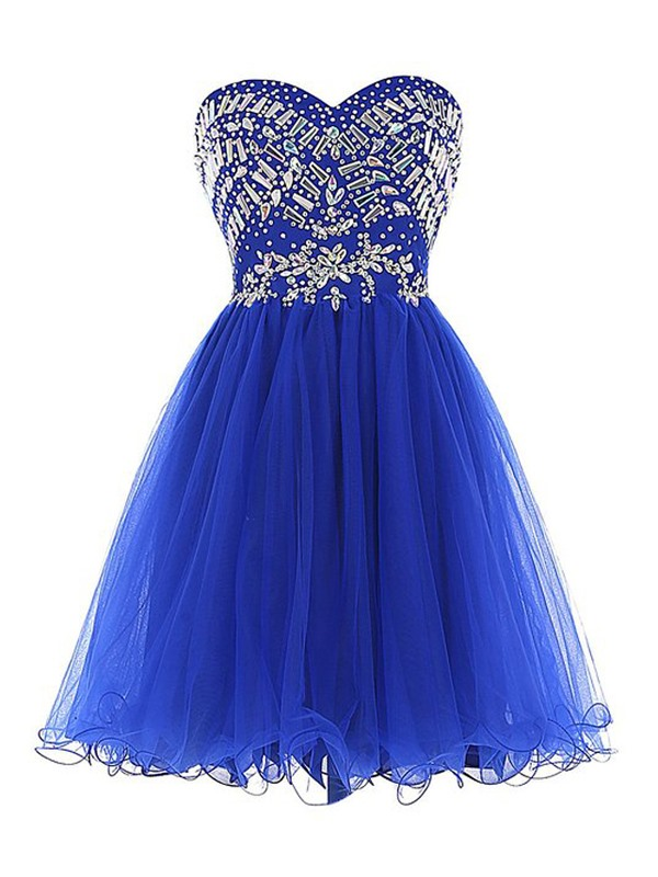 Modern A-Line Tulle Beading Crystal Homecoming Dress