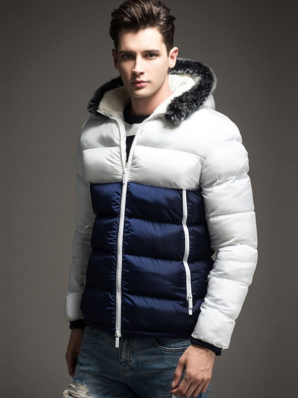 Patchwork Hooded Zipper Men's Causal Down Jacket
