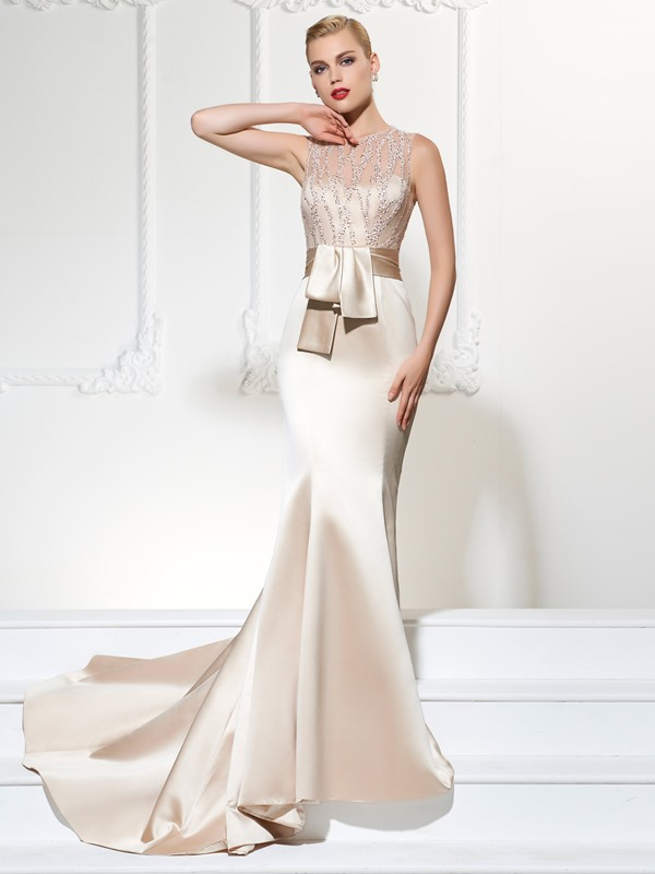 Unique Jewel Trumpet Lace Sashes Court Train Evening Dress