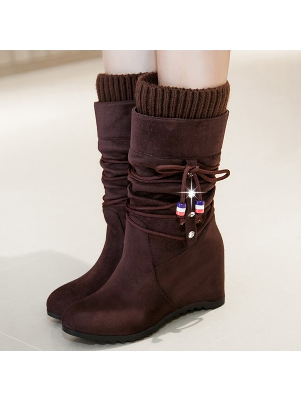 Beading Patchwork Wedge Heel Booties