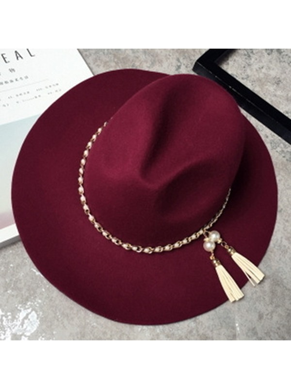 Pearl Chain Design Fedora Hat
