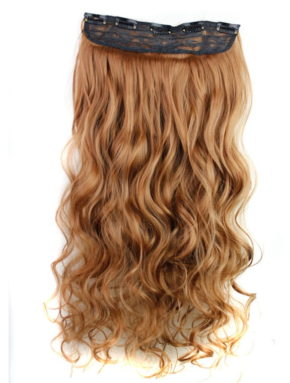 Brown Color Long Wave One Piece Synthetic Clip In Hair Extension 24 Inches(Free Shipping)