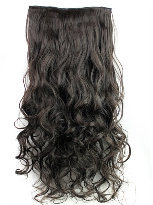 2#HT Long Wave One Piece Synthetic Clip In Hair Extension 24 Inches(Free Shipping)