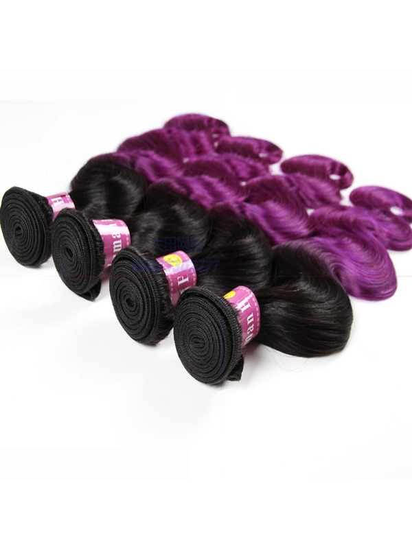 1B Purple Omber Human Hair Body Wave Weave 1 PC(Free Shipping)