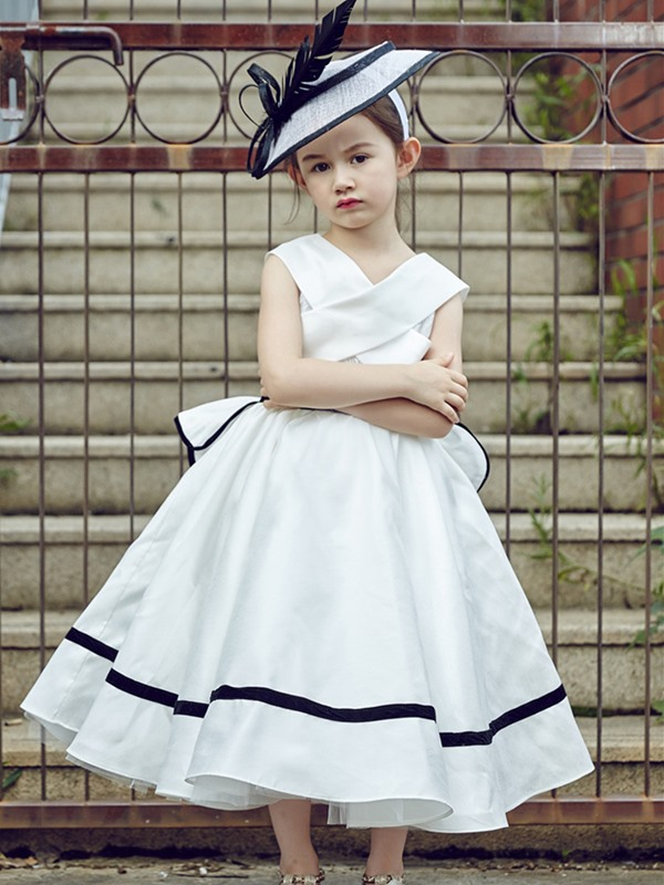 Stylish V Neck Tea-Length Ball Gown Flower Girl Dress