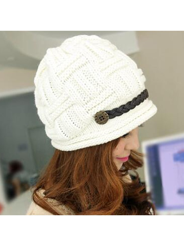 Button Decorated Knitted Hat