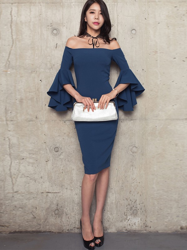 Plain Slash Neck Flare Sleeve Bodycon Dress