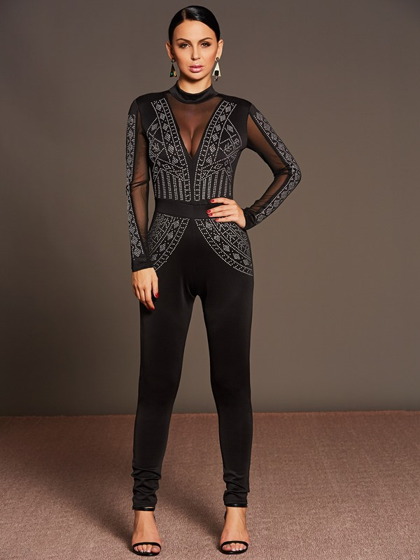 Black Lace Bead Long Sleeve Jumpsuit