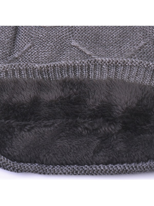 Pure Color Warm Men's Knitted Hat